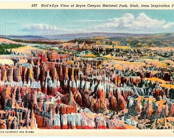 Vintage Utah Postcard - Bryce Canyon National Park from Inspiration Point (Unused)