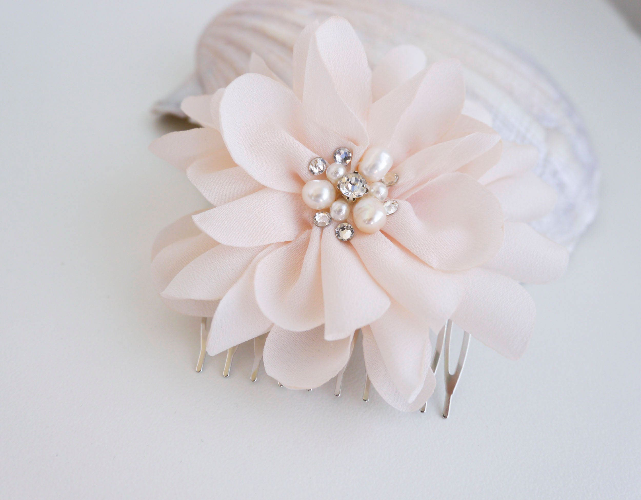 Pale Pink Flower Hair Comb Wedding Hair Accessory Blush Pink