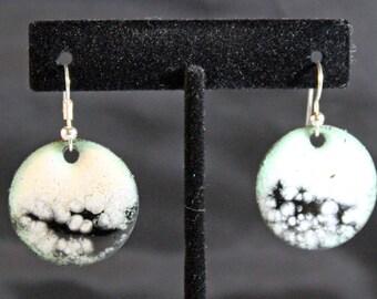 White Enameled Copper Earrings (022017-026)