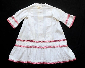 1880s Baby Dress - Authentic Mid Victorian Red & White Print Cotton Infant's Dress with Embroidery - Size 12 Months - 1870s 1880s - 26936
