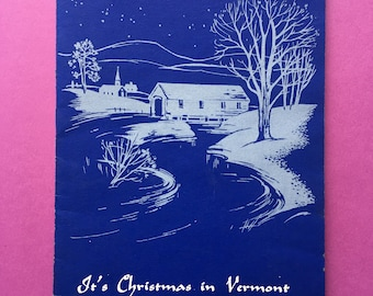 Christmas In Vermont Greeting Card // Retro Mid-Century Holiday Season's Greetings VT // Signed