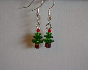 Beautiful Swarovski Crystal Christmas Tree Earrings
