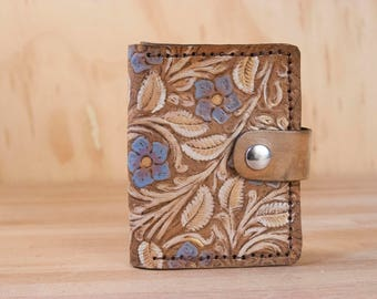 Small Coin Wallet - Limited Edition with Tooled Floral Pattern in Purple, White, Gold and Antique Brown - ONE OF A KIND