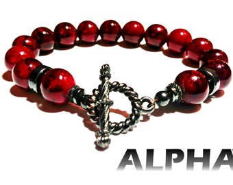 Red Jasper with Hematite Men's and Women's Beaded Bracelet