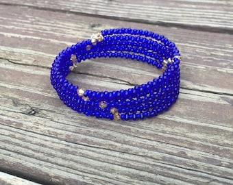 Cobalt Blue Farfelle Bead Wrap Bracelet with Swarovski Crystals 5 Strand