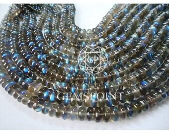 Natural Blue Flash Labradorite 9-9.5 mm Faceted Roundels, 8 inch Strand, Labradorite Rondelle Beads (R-LAB-0004)