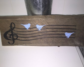 Wood Sign Music Clef with Birds Wall Decor