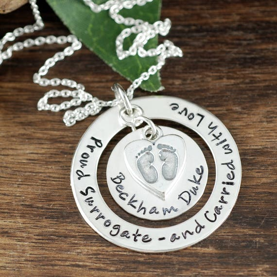 Personalized Adoption Necklace, Surrogate Necklace, Hand Stamped Jewelry, Family Necklace, Name Necklace, New Mommy Jewelry, Baby Feet Gift