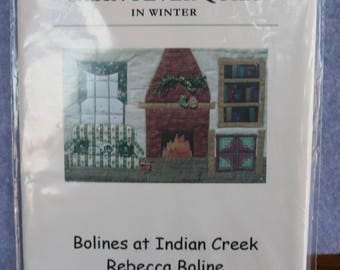Postcard Quilts/ Cabin Fever Quilt in Winter/ Bolines at Indian Creek/ NIP