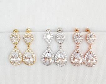 CZ Wedding Earrings, Gold Bridal Earrings,  Rose Gold Wedding Earrings, CZ Drop Earrings