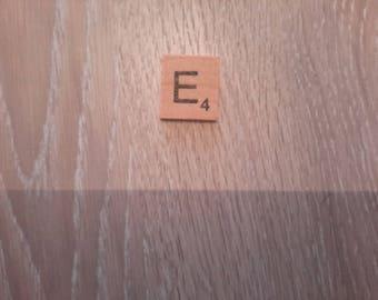 Letter E imitation of the popular scrabble game