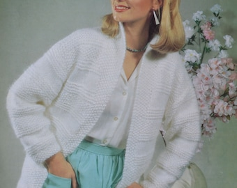 PDF womens chunky cardigan vintage knitting pattern jacket lady's INSTANT download pattern only pdf