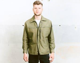 Vintage Khaki PARKA Jacket . Mens Military Style Coat Green Rain Jacket 70s Festival Outerwear Windbreaker Boyfriend Gift . size Medium