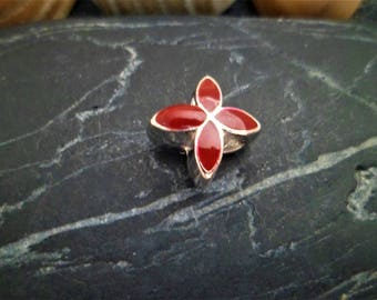 1 bead/Charms enamel Bordeaux 10 X 10 mm, European large hole beads