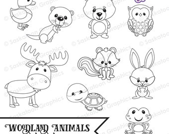 Cute Woodland Digital Stamps Clipart - Instant Download File - Digital Graphics - Crafts, Web Design - Commercial & Personal Use - #A017