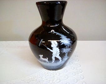 Westmoreland Glass Hand Painted Vase, Signed by C. Steelzer