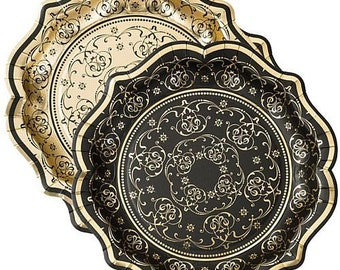 Black and gold party supplies New Yearu0027s Eve birthday party tableware black paper  sc 1 st  Etsy & Black paper plates   Etsy