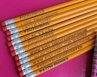 Variety Pack 12 Personalized Pencils - Personalized Pencils, Custom Pencils, Engraved Pencils, Personalized Pencils for Kids --6066