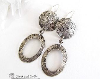 Sterling Silver Hoop Earrings, Handmade Silver Dangle Earrings, Metalsmith Earrings, Modern Silver Earrings, Lightweight Everyday Earrings