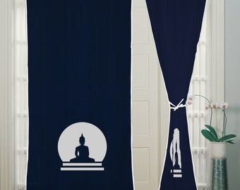 Buddha, Rod Pocket, Curtain, Blue curtains, window curtain, 2 panels, living room