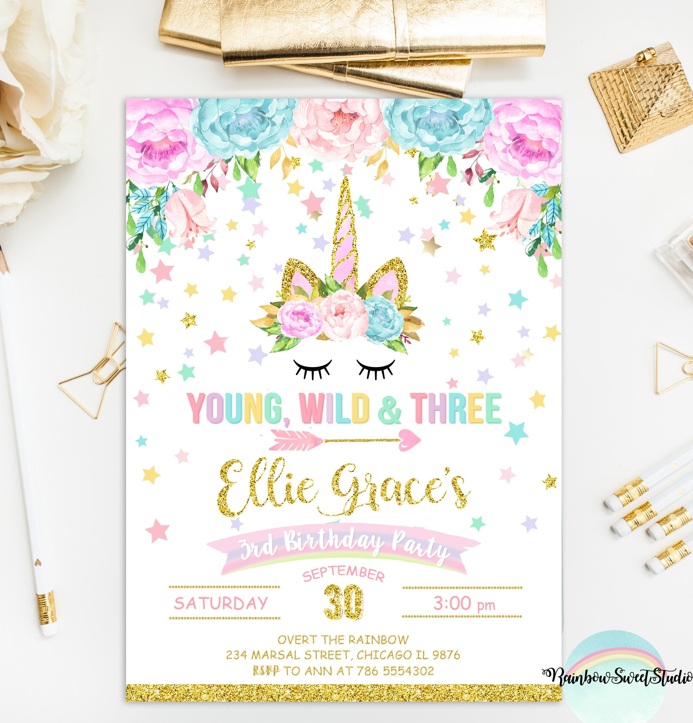Unicorn young wild and three invitation unicorn birthday description unicorn invitation stopboris Choice Image