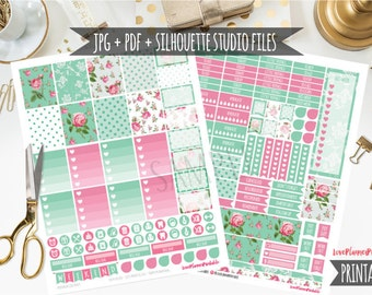 Mint Roses Digital Printable Planner Stickers Weekly Stickers Digital Planner Stickers Floral Planner Sticker Floral Sticker Cut Files