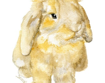 Watercolor Painting Bunny - Mini Lop Rabbit - 8 x 10 - Brown and Gold Nursery Art - 8.5 x 11 - Giclee Print