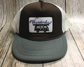 Toddler/Kids Trucker Hat- Wanderlust Patch -Brown/Gray ...