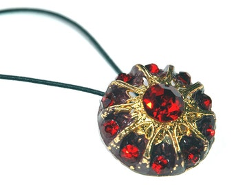 Rhinestone Hair Accessory, Vintage Rhinestone Button Ponytail Hair Accessory, Ruby Red Stones with Gold Metal, Steampunk Style Hair Tie