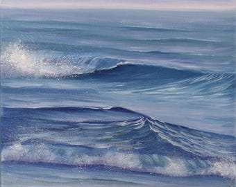 Original Beach Painting, Ocean Waves Art, Seascape, Small Oil Painting on Canvas, Take Away Only Memories