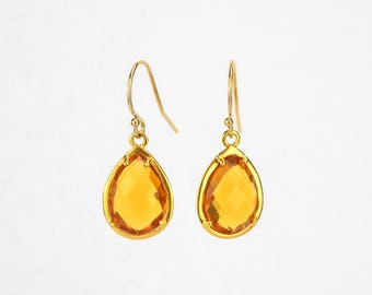 Teardrop shape earrings, Citrine Earrings prong set, November Birthstone Jewelry for her, Bridesmaid gift, Mothers day gift for girlfriend
