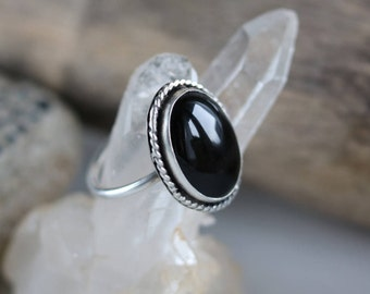 Black Onyx ring, handmade silver ring, sterlingsilver onyx ring, bohemian onyx ring • size 8.75 ring