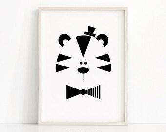 Tiger Nursery Print, Digital Download Art, Kids Print, Monochrome Nursery, Animal Print, Black White Nursery Art, Kids Wall Art Printable