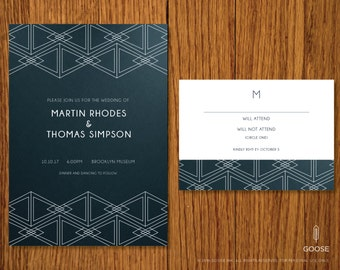 Tie the Knot | Printable Wedding Invitation and RSVP Template | Instant Download