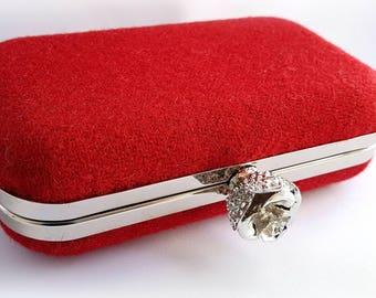 Red Harris Tweed Rose Clutch, minaudiere, clutch bag