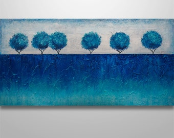 Abstract Wall Art Abstract Landscape Abstract Painting Large Abstract blue painting blue trees original painting canvas art Tree painting