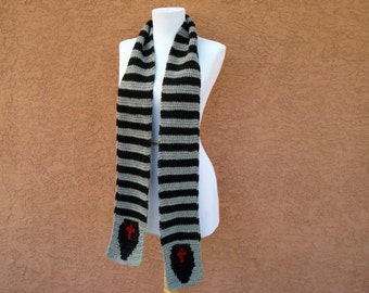 Coffin Scarf for Men or Women, Grey, Gray, Black Striped Scarf, Stripe Crochet, Crocheted Scarves Teenage Girls, Boys Boyfriend Gift Present