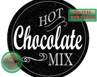 Hot Chocolate Mix Mason Jar Label Printable ~ Sheet Small Mouth Lid Digital Holiday Gift Tags ~ Homemade Gift Supply Chalkboard Style Favors
