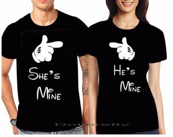 He's mine She's mine Mickey Gesture Couples Tshirt Valentine's Day HUSBAND WIFE MARRIAGE Honeymoon Party Partner Couple New