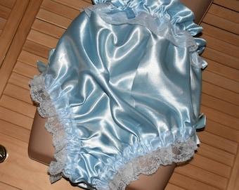Sensual baby blue comfort satin sleeping panties , lovely to relax and sleep in...lounging panties, Sissy lingerie