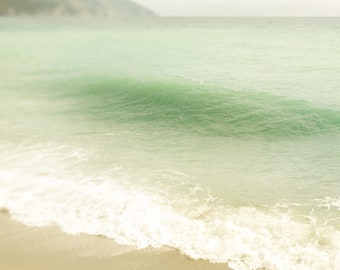 Ocean Photograph - Nature Wall Art Print - Cinque Terre Italy Art - Landscape Water -  Ligurian Sea - Beach Home Decor - teal, beige, creme