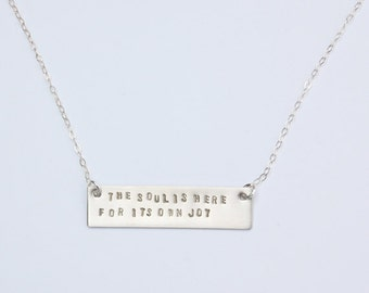 Rumi quote silver bar necklace