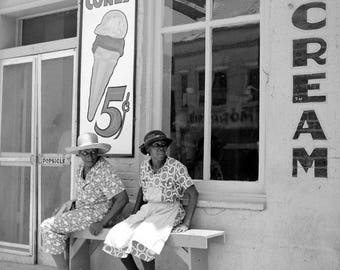 "1940 Ice Cream Parlor, Port Gibson, Mississippi Vintage Photograph 8.5"" x 11"""
