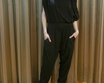 Vintage 1980s black cotton soft stretchy off-shoulder jumpsuit - punk new wave Medium