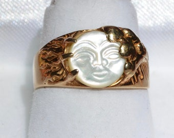 10K Hand Carved Man in The Moon Stars Sun Clouds Ring