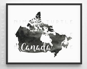 Canada Outline Watercolor  -  Printable Canada Wall Art  -  Black and White  -  Gallery Wall Art