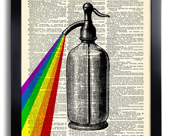Soda Water Prism Art Print Vintage Book Print Recycled Vintage Dictionary Page Collage Repurposed Book Upcycled Dictionary 209