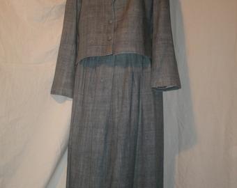 Ruth Chagnon Silk Suit Vintage Blazer Jacket Skirt Blue Gray Loomed Matka Delray Beach Couture Designer Clare Joseph 1970's Women's Size 14