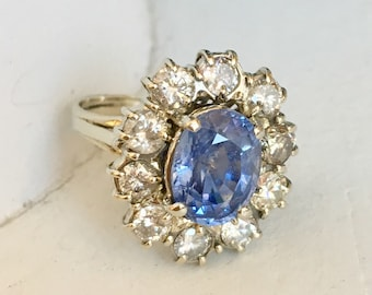 Beautiful Lavender Pale Blue Sapphire Diamond Engagement Ring - Halo Ring