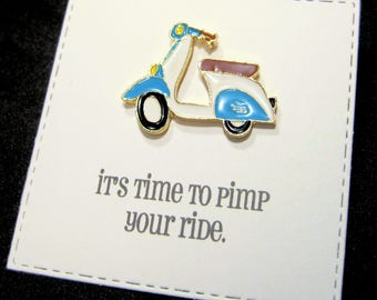 Scooter - Enamel Pin with handmade Punny card & envelope - Lapel Pin - Hard Enamel Pin - Nature - Kawii -Trending - Backpack Pin